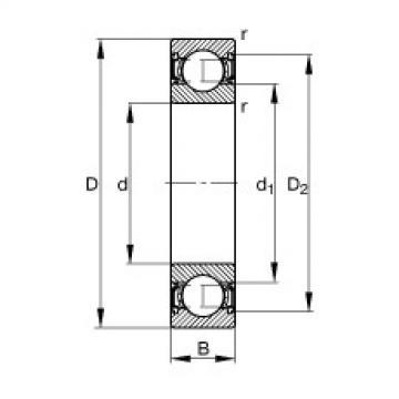 FAG Rolamento de esferas - S61800-2RSR