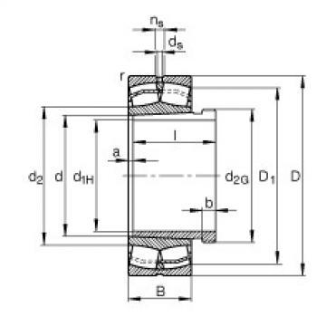 FAG Rolamentos autocompensadores de rolos - 22318-E1-XL-K-T41A + AHX2318